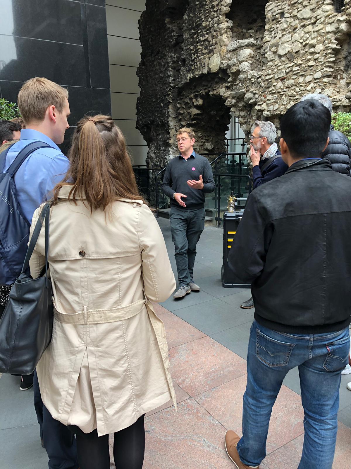 Dan Gibbons presents beside the Roman London Wall